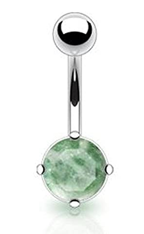 1 x Jade Semi Precious Prong Set Stone Non Dangle Belly Bar Piercing 10mm Thickness 1.6mm Length Surgical Steel