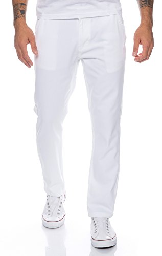 Rock Creek Hommes Chino Pantalon pour Hommes Regular Slim RC-390 Blanc W32 L30
