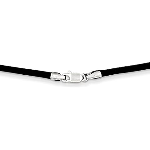 PriceRock 14 K oro blanco 2 mm 16In negro collar de cordón de cuero