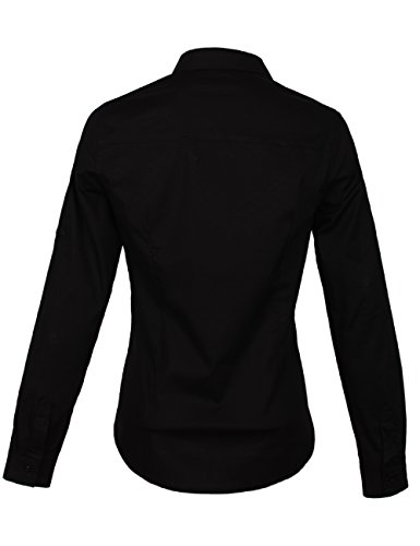 Fraternel Damen Bluse Hemd Slim Fit Hemdbluse Stretch Schwarz