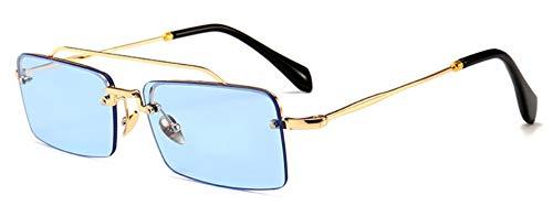 Sonnenbrille Retro, Rechteckige Sonnenbrille Männer Metall Rahmen Gold Braun Klar Blau Rot Halb Randlose Square Sonnenbrillen Für Frauen Sommer