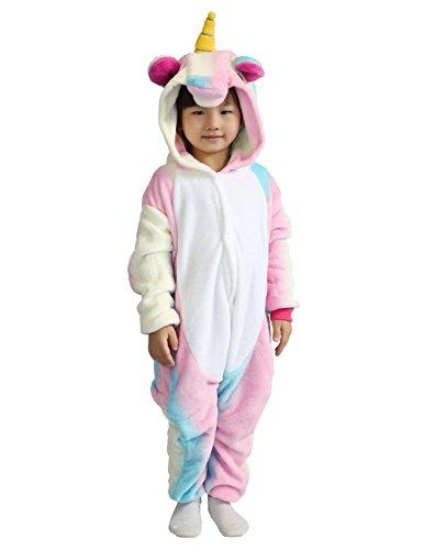 Pyjamas Kinder Einhorn Kostüm Jumpsuit Onesie Tier süß Schlafanzug Overall Cosplay Karneval Fasching (XL: für Höhe 125-134 cm, Pink)
