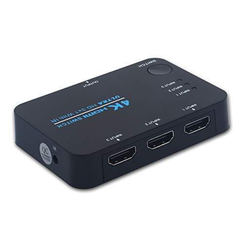 3 Port Hdmi Switcher (HDMI Switch 4K, 3 Ports HDMI Switcher Splitter Unterstützt 4K @ 30Hz / 2K / 1080P / 3D mit IR-Fernbedienung-3-Eingang 1-Ausgang)