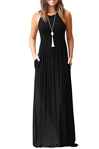 Bequemer Laden Sommerkleid Damen Rundkragen Ärmellos Partykleid Casual MaxiKleid mit Taschen Schwarz-XL - Lang Kleid Für Sommer Den
