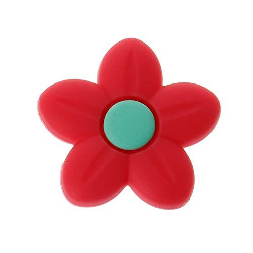Blume Form Charme Beißring Baby Kinderkrankheiten Schmuck Pflege Baby Mundpflege Für Schnuller Halter Halskette - Rot ()
