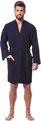Morgenstern Kimono Bademantel Herren Blau Kurzbademantel Saunabademantel Männer kurz leicht Viskose Microfaser Baumwolle Mann dünn weich Größe S - Jungen-bademäntel Größe Small