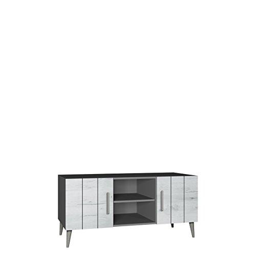 Bello Tv-tisch (TV Tisch Bello B11, TV Schrank im skandinavischen Stil, Fernsehtisch, Lowboard, Fernsehschrank, TV Bank, TV Möbel (Grafit / Weiß Craft))