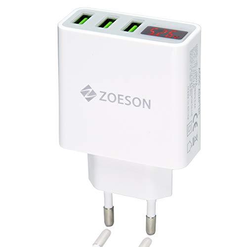 Zoeson 3 Port USB Ladegerät, Echtzeitüberwachung Strom und Spannung Ladegerät, Reiseladegerät Adapter, USB Adapter, USB Wandladegerät (5V/3A) - Uk Ladegerät