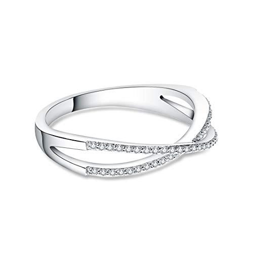 CHARMÉE Luxembourg - Damen PAVÉ-RING handgefertigt aus 925 Sterling-Silber mit 48 Cubic Zirkonia, 14 Karat vergoldet (52) - Silber Ringe Sterling Echtes 925
