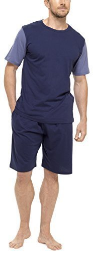 Tom Franks Herren Baumwolle Jersey T-Shirt & Shorts Pyjama Lounge Set - Marineblau & Denim Blau, Large (Set Baumwoll-jersey-pyjama Aus)