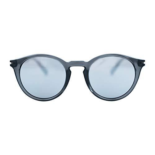 MessyWeekend Hobbes - Runde Moderne Dänische Designer Sonnenbrillen mit UV400 Schutz Transparent Grau Silber Mirror