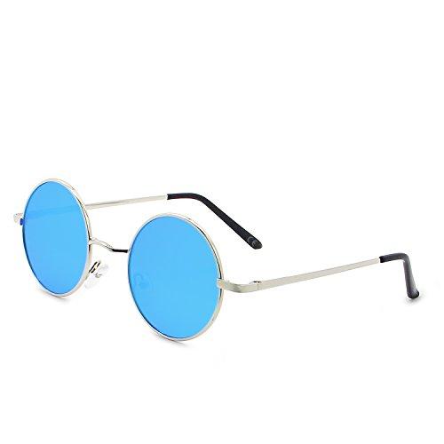 AMZTM Runde Sonnenbrille Retro Klassisch Vintage Mode Metallrahmen Klein Kreis Polarisierte Damen Herren Verspiegelt Fahren Brillen UV 400 Schutz (Silber Rahmen Eisblau Linse, 46)