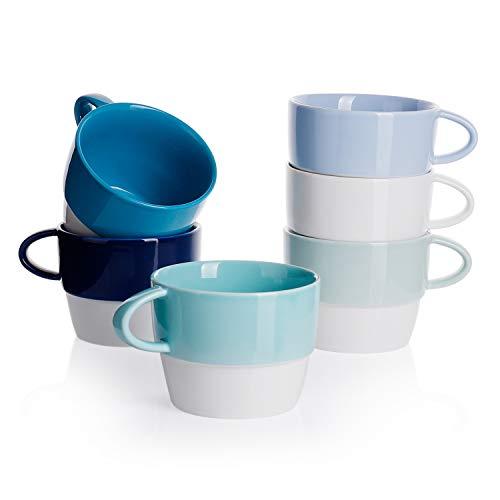 Sweese 4315 6er Set Kaffeebecher aus Porzellan, 320 ml, Stapelbare Tasse für Heißgetränke, Blaue Serie