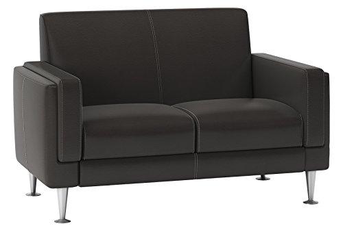 City Salon 3760272810130 KEOPS Canapé Fixe 2 Places Cuir Taupe 134 x 82 x 86 cm