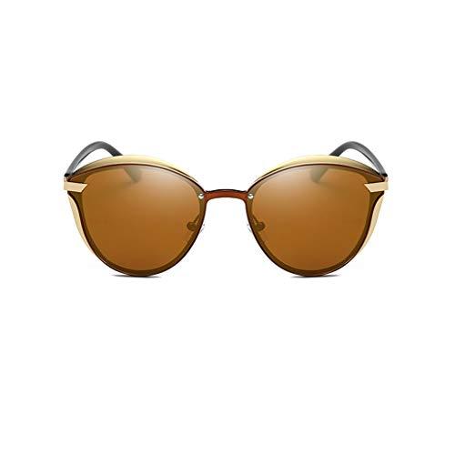 Leluo Mädchen Mode polarisierten Sonnenbrillen gespiegelt polarisierten Brillen großen Rahmen Sonnenbrillen Damenbrillen (Color : Brown)