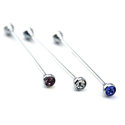 Vococal 3 Stk Herren Runder Kopf Stil Shirt Collar Clip Bar PIN Brosche mit Strass, Blau + Lila + Weiß Collar Pin Shirt