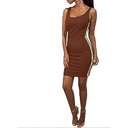 Geilisungren Vestido Deporte de Mujer, Casual Verano Sin Mangas Vestidos de Playa Cuello Redondo Vestido de Camiseta Fiesta Color sólido Rayas Faldas Mujer Vacaciones Cortas Minifalda Elastica