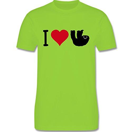 Tiermotive - I love Faultiere - L190 - Premium Männer Herren T-Shirt mit Rundhalsausschnitt Hellgrün