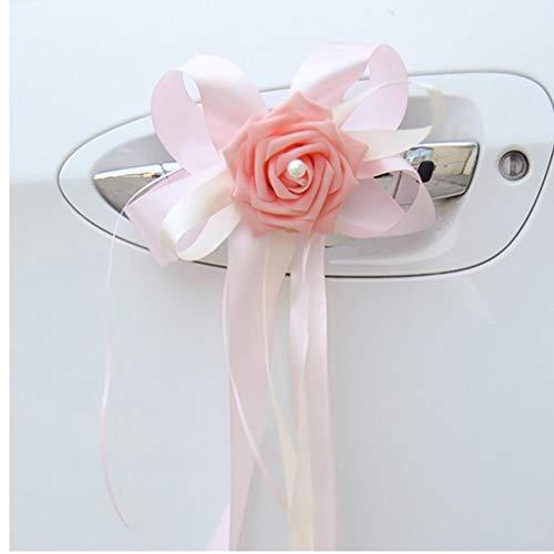 PiniceCore Lilien-Blumen 6pcs / lotWedding CarDecoration FlowerSimulation Tür HandlesChair Zurück Rückspiegel Dekor rosa