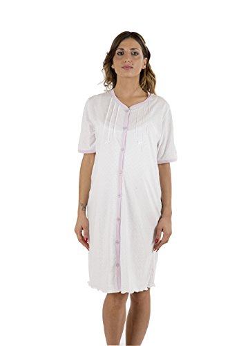 Premamy Camicia Clinica per Premaman Modello Aperto Davanti Cotone Jersey Pre Post Parto Lilla V