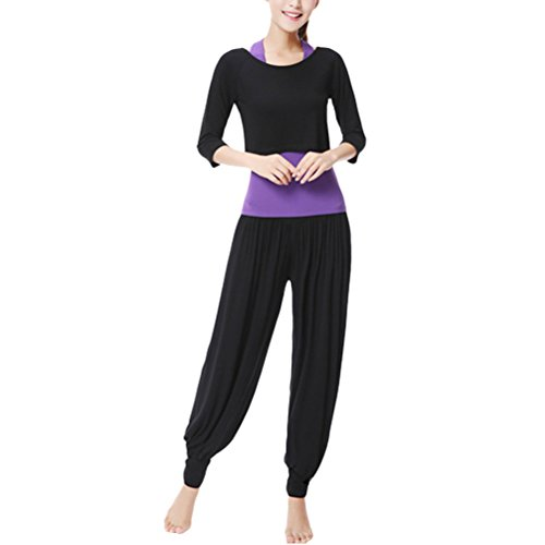 Zhhlaixing Womens Yoga Three-piece Set Outfits Fashion Solid color Fitness Sportswear Black&Purple