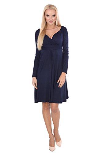 AE - Robe spécial grossesse - Trapèze - Manches Longues - Femme bleu foncé