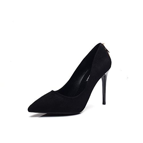 Scarpe con i tacchi alti con un sexy punta fine impermeabile nero singolo Black
