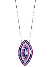 Plata de Ley Chapado en color blanco rosa y azul circonitas cúbicas Marquis collar–46cm