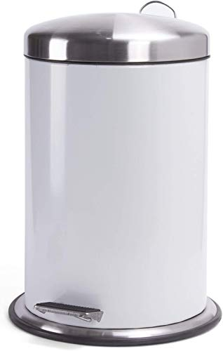 """MSV Kosmetikeimer \""""Retro\""""\"""" Mülleimer Treteimer Abfalleimer - 3 Liter - mit herausnehmbaren Inneneimer Weiß"""