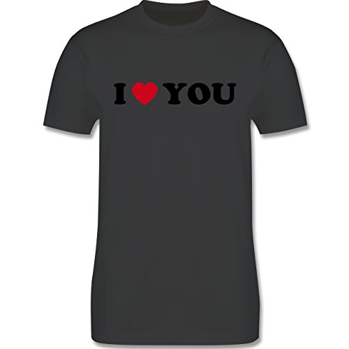 I love - I Love You - Herren Premium T-Shirt Dunkelgrau
