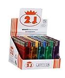 2J Briquet, Lot de 50 Briquets Electriques Rechargeables Couleur Translucide