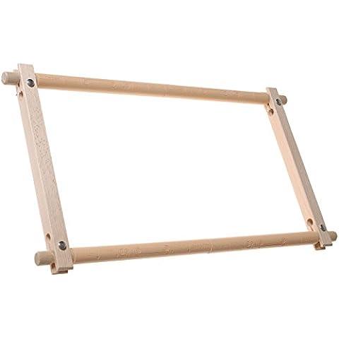 Elbesee Telaio manuale a rullo Easy Clip, non necessita di essere tagliato, in legno, dimensioni: 61 x 30 cm