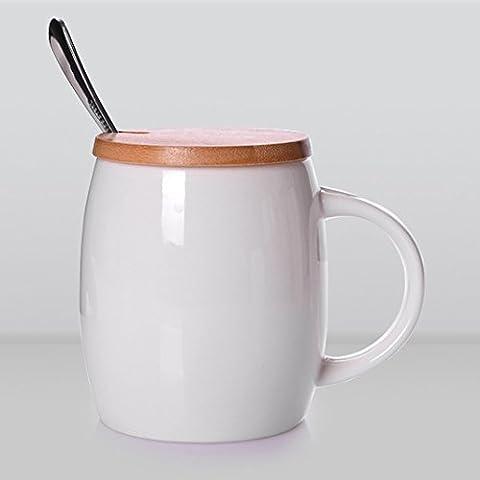 YX.LLA La taza de café de tazas de cerámica Keg taza taza Individual de moda el tazón de agua con la tapa con la cuchara,+Blanco+Takefuta cuchara de acero