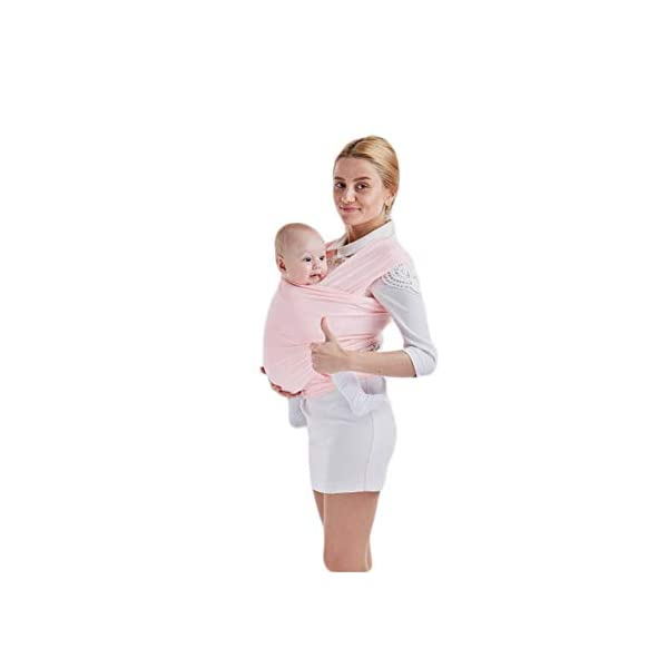 AniKigu Baby Wrap Carrier for Baby Newborn Within 16 KG, Gift to The New Mum, Ideal for Breastfeeding, Multifunctional Back Method, Light and Breathable, Soft Cotton and Comfort Spandex, 0.58Mx5.3M AniKigu Use 95% cotton and 5% spandex in a high quality material Say goodbye to shoulder pain and back strain; The baby wrap carrier surrounds you and your baby's spine, making it easy to counteract the baby's weight with your back; No longer get tired or get any sore muscles Stay close to mom's heart, a baby can hear your heart beating and feel the warmth from your body in the sling where he can feel peace of mind 2