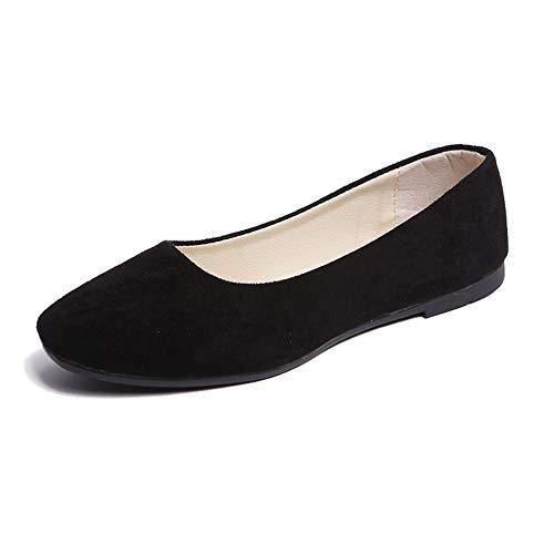 Mujer Bailarinas Básicas de Piel Sintética Zapatos Planos Ocio y Moda,Negro,36 EU