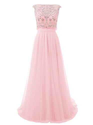 Dresstells, Robe de cérémonie Robe de soirée en tulle forme princesse dos nu traîne moyenne emperlée Rose