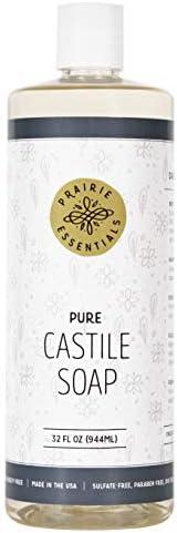 Prairie Essentials Castile Soap Liquid Unscented 32oz Bottle - Sulfate, Paraben, Cruelty and Dye Free - Pure C