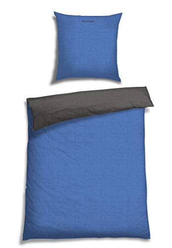 Schiesser Renforcé Bettwäsche Doubleface blau - anthra / 2-teilig / 100{aa3c6f5bd368e46d1ef40d3519699c93630fe1e1da1637b4836a89d283d03ee9} Baumwolle / versch. Größen erhältlich, Größe:155 cm x 220 cm + 80 x 80 cm