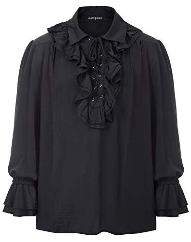 nner Gothic Victorian Langarmshirts Tops Halloween Kostüme Schwarz L ()