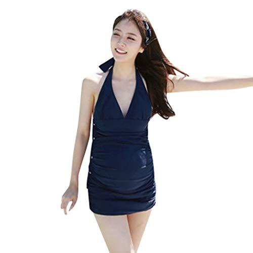 Umstandsbadeanzug Damen Sexy Solide V-Ausschnitt Mode Umstandstankini Schwangerschafts Bademode Retro Schöne Umstandsbademode Wrap Front Schwimmanzug Bikini für Schwangere(XL, Dunkelblau) -