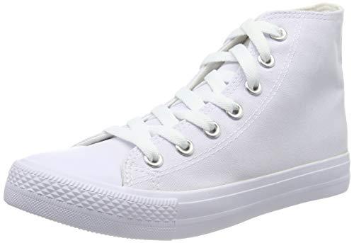 Stiefelparadies Damen Sneakers High Top Sportschuhe Stoffschuhe Freizeit Schnürer 140036 Weiss White 40 Flandell (Weiße Kostüm Für Eine White Party)
