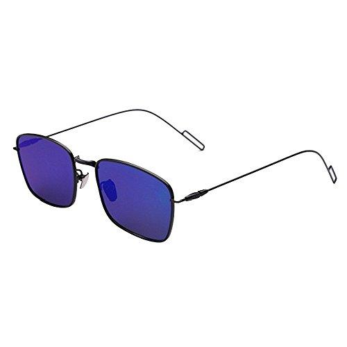 KOMEISHO Neue Designer - Sonnenbrille Kleine Quadratische dünne Metall Aviator Sonnenbrille Full Frame Farbige Objektiv UV400 Schutz Driving Beach Sommerferien glänzende Rosa (Farbe : Blau)