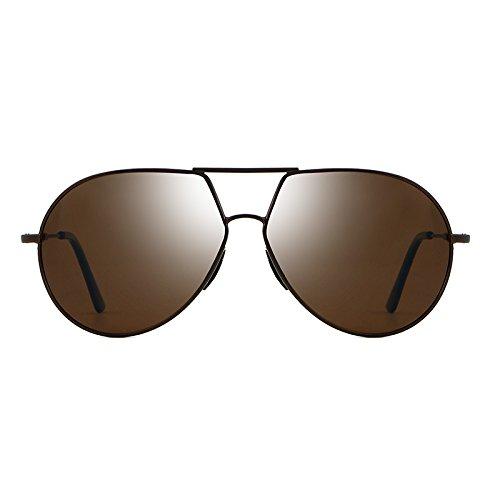 Man&Y Polarisierte Sonnenbrille der Männer, Radfahrengläser, Mode-Marke, die Art-männliche Sonnenbrille-Legierung Eyewear-Weinlese-Fahrer-Fischen fährt (Color : Brown)