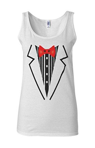Tuxedo Suit Bow Tie Fancy Novelty White Femme Women Tricot de Corps Tank Top Vest **Blanc