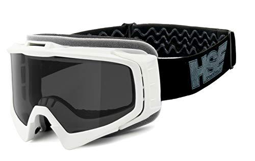 HSE SportEyes® | beschlagfrei, winddicht, HLT® Kunststoff-Sicherheitsglas nach DIN EN 166 | Offroad- / MX-Brille, Skibrille | Brillengestell: weiß matt, Brille: 2305w -