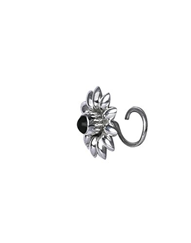 Abhooshan Flower 92.5 Sterling Silver Nose Pin with Black Onyx for Women and Girls