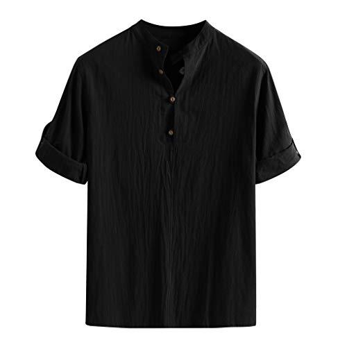 Marke Men Casual Halber Ärmel Leinen Shirts Strand-Hemden Herren Kurzarm Poloshirt Baumwollmischung Stehkragen Regular Fit Atmungsaktiv Sommer T-Shirt für Männer