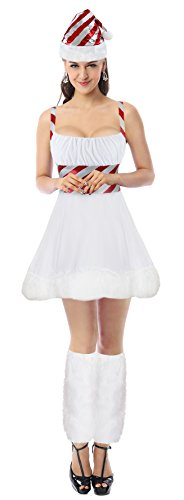 Kimring Women's 3pcs Christmas Miss Candy Cane Cosplay Costume Mini Dress White (Kostüme Candy Halloween Cane)