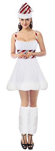 Kimring Women's 3pcs Christmas Miss Candy Cane Cosplay Costume Mini Dress White (Kostüm Elf Cute Womens)