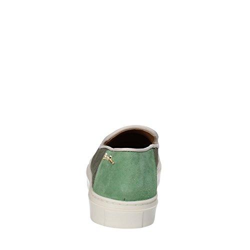 Braccialini Mocassini Slip On Donna Tessuto Borchie Camoscio Verde